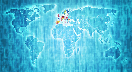 european union members flags on blue digital world map with actual national borders