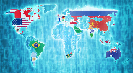 g20: group of twenty country flags on blue digital world map with actual national borders