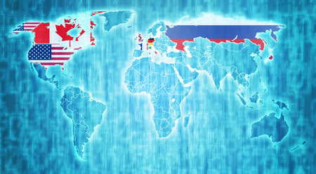 actual: group of eight countries flags on blue digital world map with actual national borders