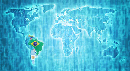 actual: Mercosur members flags on blue digital world map with actual national borders Stock Photo