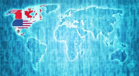 nafta: Nafta flags on blue digital world map with actual national borders