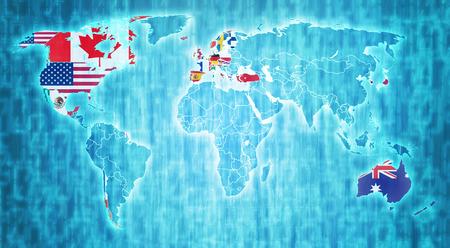 De vlag van de OESO op blauw digitale wereldkaart met de werkelijke nationale grenzen