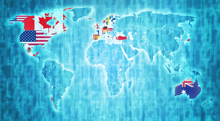 OECD flag on blue digital world map with actual national borders