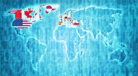 nato: NATO flag on blue digital world map with actual national borders