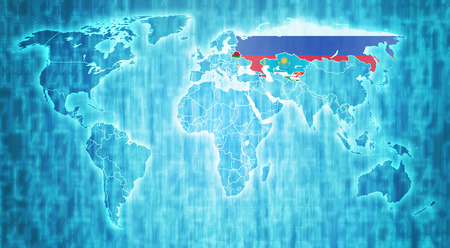 actual: Commonwealth of Independent States flag on blue digital world map with actual national borders