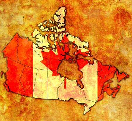 administration: old vintage administration map of canada with flag Stock Photo