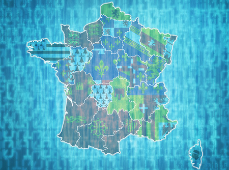 map of france with administrative divisions over digital background photo