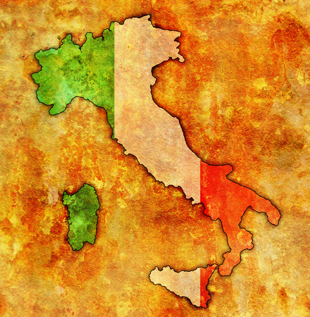 saturated color: italy on old vintage map with flag