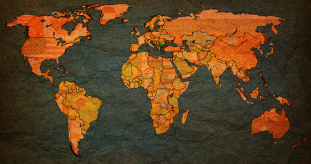 vintage world map: bulgaria flag on old vintage world map with national borders