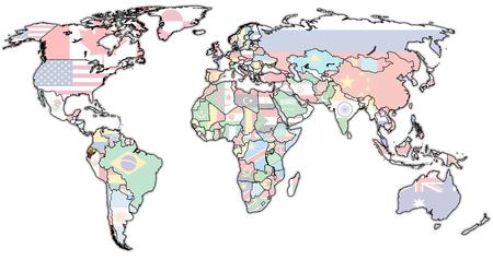 vintage world map: ecuador flag on old vintage world map with national borders