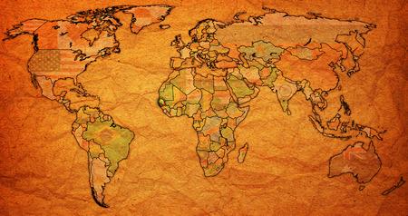 old world: senegal flag on old vintage world map with national borders
