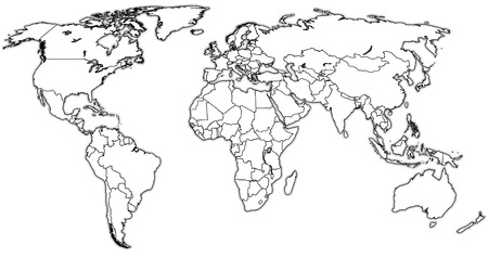 territories: territories on  isolated over white world map with national borders Stock Photo