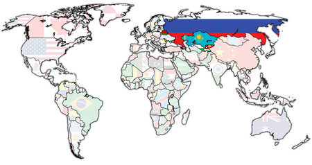 Commonwealth of Independent States on world map with national borders