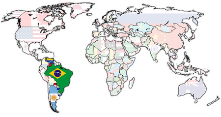 in common: Southern Common Market on world map with national borders
