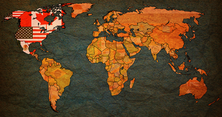 nafta: North American Free Trade Agreement on world map with national borders Stock Photo