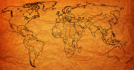 territories: territories on old vintage world map with national borders