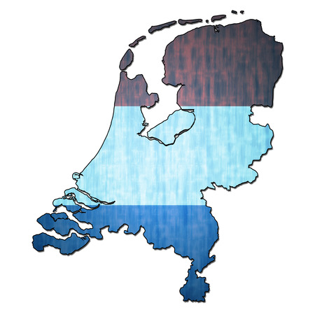 national borders: map with flag of netherlands with national borders