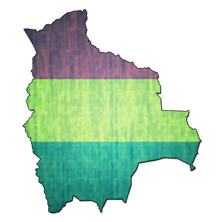 mapa de bolivia: mapa con la bandera de Bolivia con las fronteras nacionales Foto de archivo