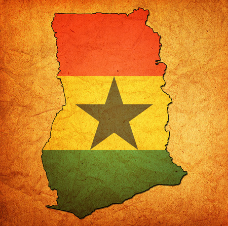 national borders: map with flag of ghana with national borders