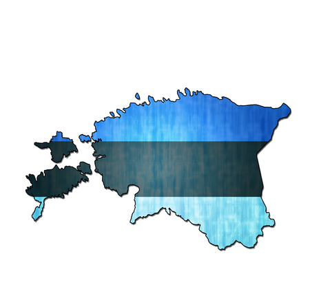 national borders: map with flag of estonia with national borders Stock Photo