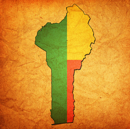 benin: map with flag of benin with national borders Stock Photo
