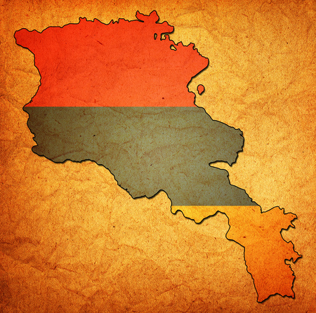 armenia: map with flag of armenia with national borders Stock Photo
