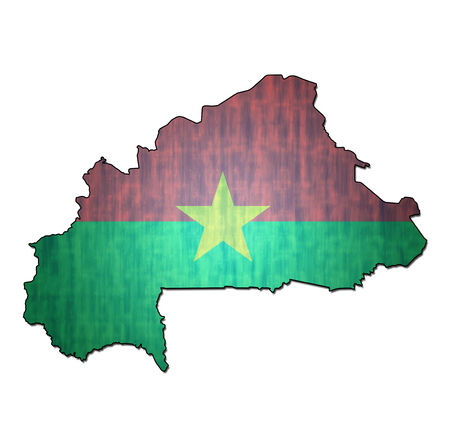 burkina faso: map with flag of burkina faso with national borders Stock Photo