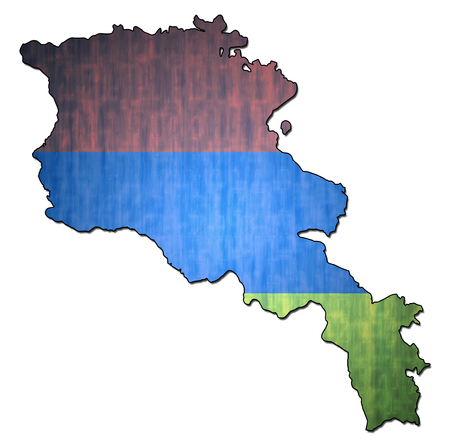 national borders: map with flag of armenia with national borders Stock Photo