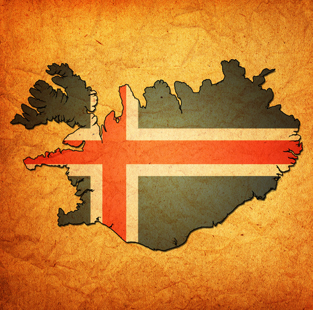 national borders: map with flag of iceland with national borders Stock Photo
