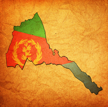 eritrea: map with flag of eritrea with national borders Stock Photo