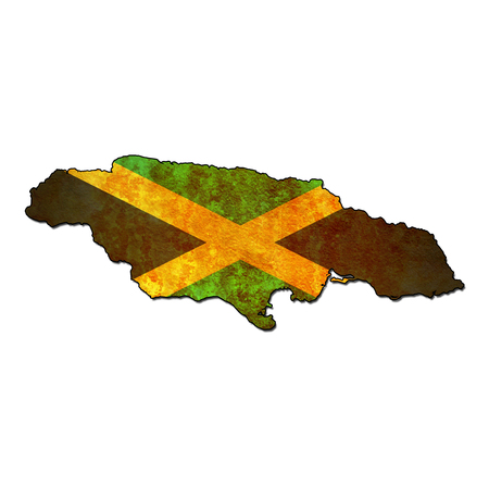 national borders: map with flag of jamaica with national borders