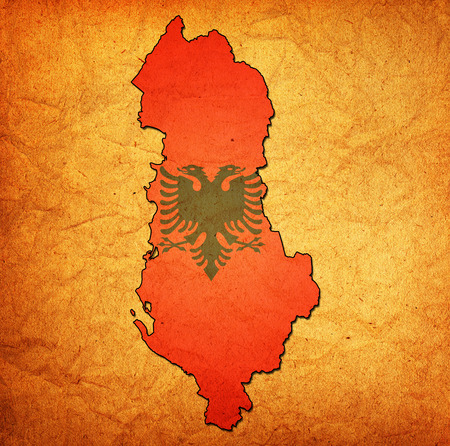 national borders: map with flag of albania with national borders