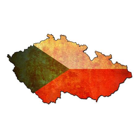 czechoslovakia: map with flag of czechoslovakia with national borders