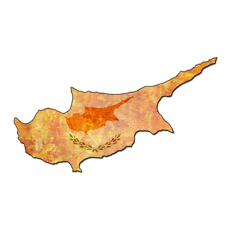 national borders: map with flag of cyprus with national borders Stock Photo