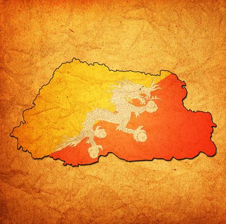 bhutan: map with flag of bhutan with national borders Stock Photo