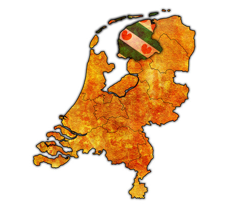 friesland: friesland flag on map with borders of provinces in netherlands
