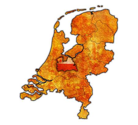 provinces: utrech flag on old vintage map of provinces in netherlands