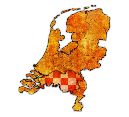 north brabant: north brabant flag on map with borders of provinces in netherlands
