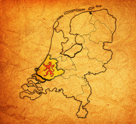 holland flag: south holland flag on map with borders of provinces in netherlands Stock Photo