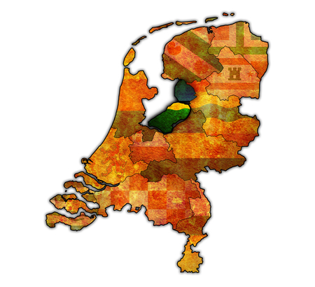 provinces: flevoland flag on map with borders of provinces in netherlands Stock Photo