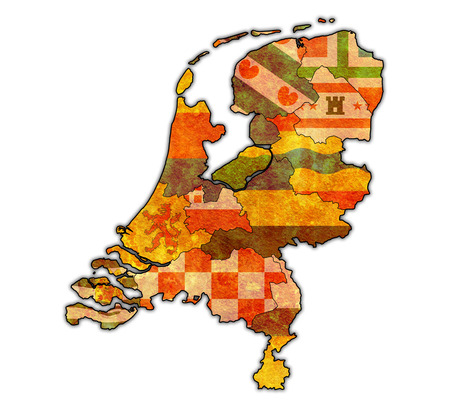 divisions: flags of provinces on map with administrative divisions of netherlands