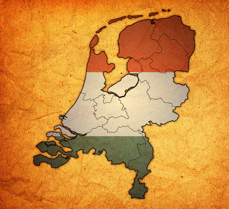divisions: territory of provinces on map with administrative divisions of netherlands Stock Photo