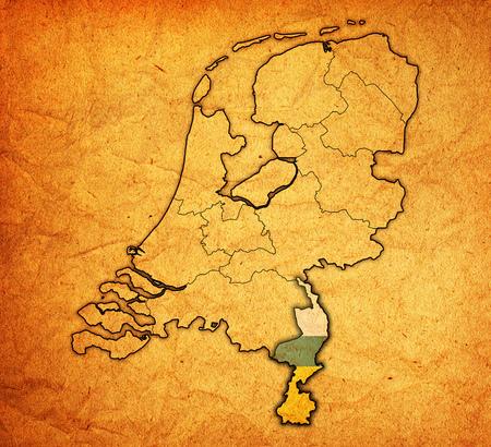 limburg: limburg flag on map with borders of provinces in netherlands Stock Photo