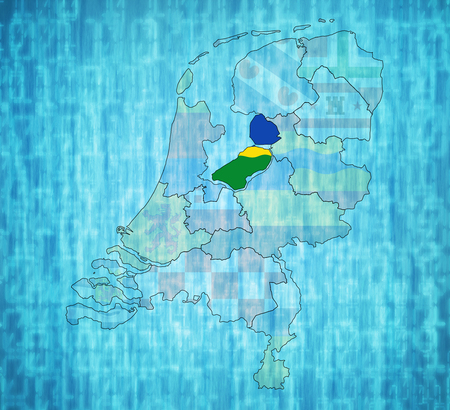 flevoland: flevoland flag on map with borders of provinces in netherlands Stock Photo