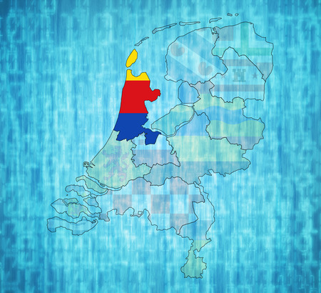 holland flag: north holland flag on map with borders of provinces in netherlands