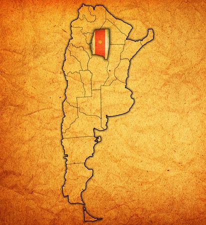 santiago: Santiago del Estero region with flag on map of administrative divisions of argentina