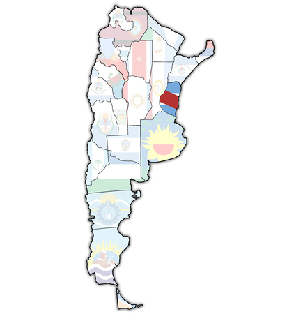 divisions: entre rios region with flag on map of administrative divisions of argentina