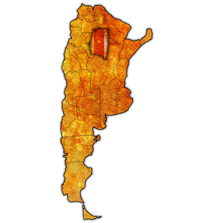 Santiago del Estero region with flag on map of administrative divisions of argentina