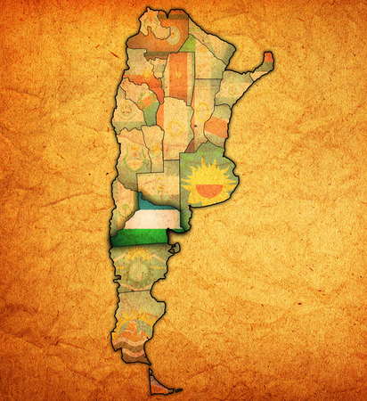 rio negro region with flag on map of administrative divisions of argentina