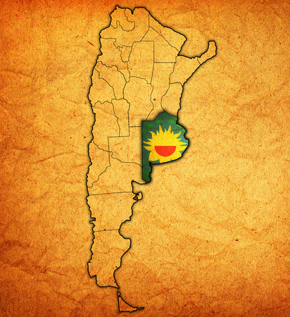 aires: buenos aires region with flag on map of administrative divisions of argentina Stock Photo